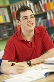 Genç erkek öğrenci sınıfta çalışma — Stok fotoğraf