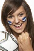 Young Female Sports Fan With Honduras Flag Painted On Face — Stock Photo