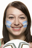 Young Female Football Fan With Argentinian Flag Painted On Face — Stock Photo