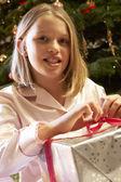 Mladá dívka otevírání vánoční dárek před strom — Stock fotografie