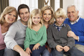 Portrait Of Three Generation Family At Home — Stock Photo