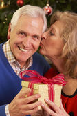 Senior Couple Exchanging Christmas Gifts — Stock Photo