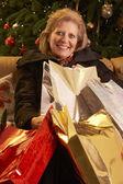 Senior Woman Returning After Christmas Shopping Trip — Stock Photo