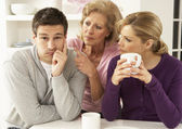 Senior Mother Interferring With Couple Having Argument At Home — Fotografia Stock