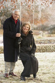 Senior Couple Sitting On Garden Swing In Frosty Landscape — Stock Photo