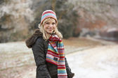 Woman On Winter Walk Through Frosty Landscape — Stock Photo