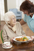 Senior Woman Being Served Meal By Carer — Stok fotoğraf