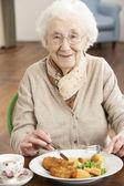 Senior Woman Enjoying Meal — Stock Photo