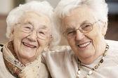 Deux amis de femmes âgées à la garderie — Photo