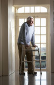 Elderly Senior Man Using Walking Frame — Stock Photo