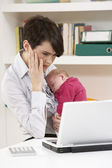 Stressed Woman With Newborn Baby Working From Home Using Laptop — Stock Photo