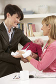 Working Mother Leaving Baby With Nanny — Stock Photo
