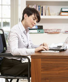 Woman Working From Home Using Laptop — Stock Photo