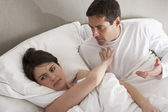 Couple With Problems Having Disagreement In Bed — Stock Photo