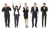 Triumphant group of businessmen and women — Stock Photo