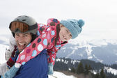 Young Father And Daughter On Winter Vacation — Stock Photo