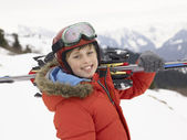 Pre-teen Boy On Ski Vacation — Stock Photo