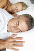 Head and shoulders mid age couple sleeping — Stock Photo