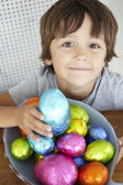 Child with Easter eggs — Stok fotoğraf