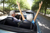 Senior couple in sports car — Stock Photo