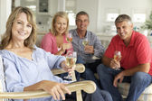 Mid age couples drinking together at home — Foto Stock