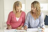 年年年龄妇女用水彩绘画 — 图库照片