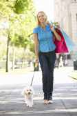 Woman on shopping trip with dog — Stock Photo