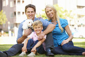 Couple dans le parc de la ville avec le jeune fils et chien — Photo