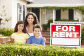 Mother and children outside home for rent — Stock Photo