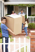Family moving into rented house — Stock Photo