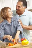 Senior couple cooking — Stock Photo