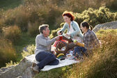 Friends on country picnic — Stock Photo