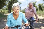 Starszy para w kraju na rowerze — Zdjęcie stockowe