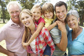 Portrait multi-generation family outdoors — Stock Photo