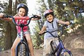 年幼儿童骑自行车在国家 — 图库照片