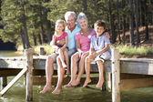 Senior couple sitting by lake with grandchildren — Stock Photo