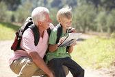 高级人阅读地图和对国家的步行的孙子 — 图库照片