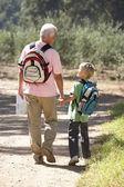 Senior hombre y nieto de paseo por el campo — Foto de Stock