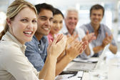 Mixed group in business meeting — Stock Photo