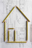 Architectural drawing and pencils — Stock Photo