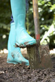Person digging in garden — Stock Photo