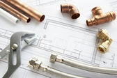 Plumbing tools and materials — Stock Photo