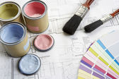 Decorating tools and materials — 图库照片
