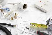 Materiales y herramientas de cableado — Foto de Stock