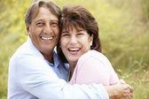 Senior Hispanic couple outdoors — Stock Photo