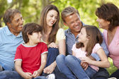 Multi generation Hispanic family in park — Stock Photo