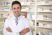 Portrait American pharmacist at work — Foto Stock