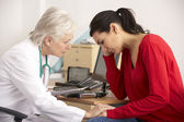American doctor with depressed woman patient — Stock Photo