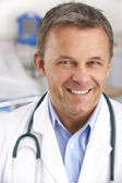 Portrait American doctor on hospital ward — Stock Photo
