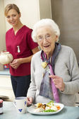 Senior woman with carer eating meal at home — ストック写真